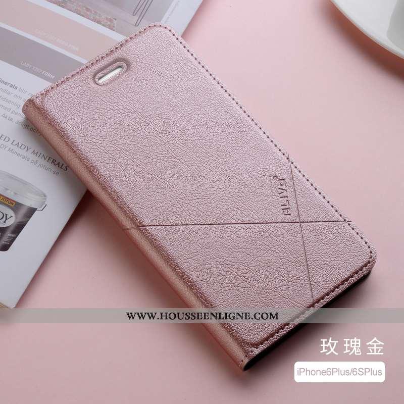 Étui iPhone 6/6s Plus Cuir Fluide Doux Clamshell Protection Tout Compris Coque Silicone Rose