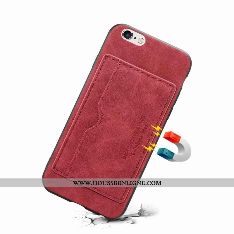 Étui iPhone 6/6s Plus Cuir Protection Couleur Unie Rouge Carte Coque
