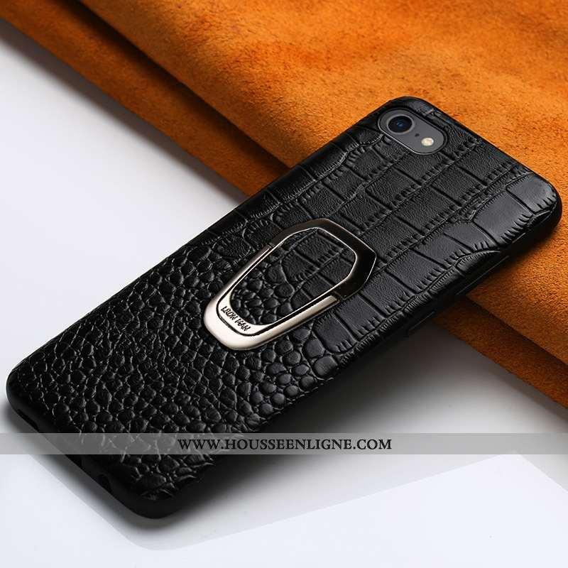 Étui iPhone 6/6s Plus Cuir Véritable Tendance Support Coque Téléphone Portable Noir Créatif