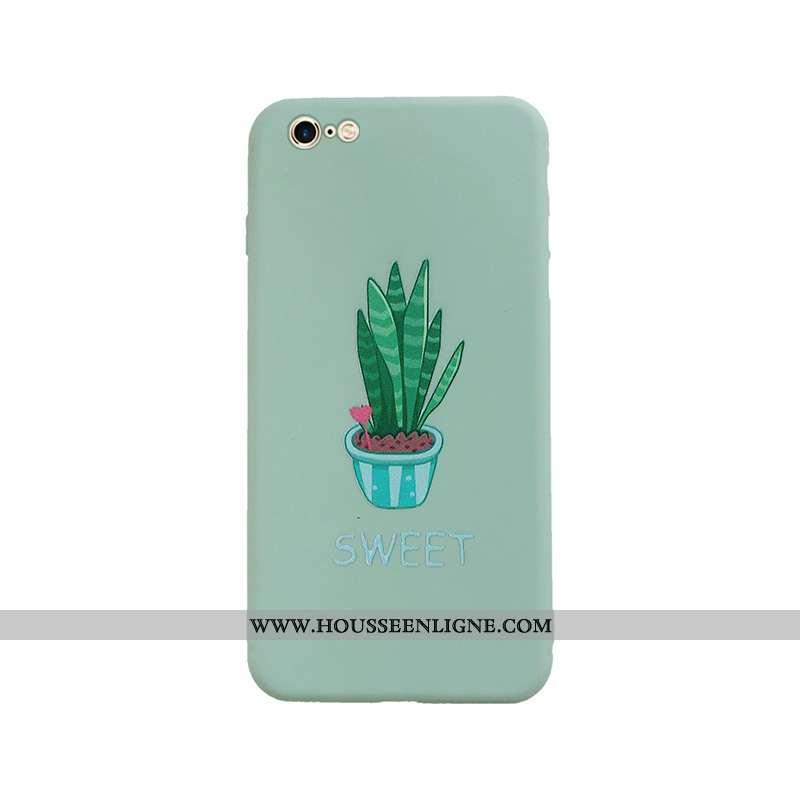 Étui iPhone 6/6s Protection Délavé En Daim Tendance Coque Téléphone Portable Ultra Verte