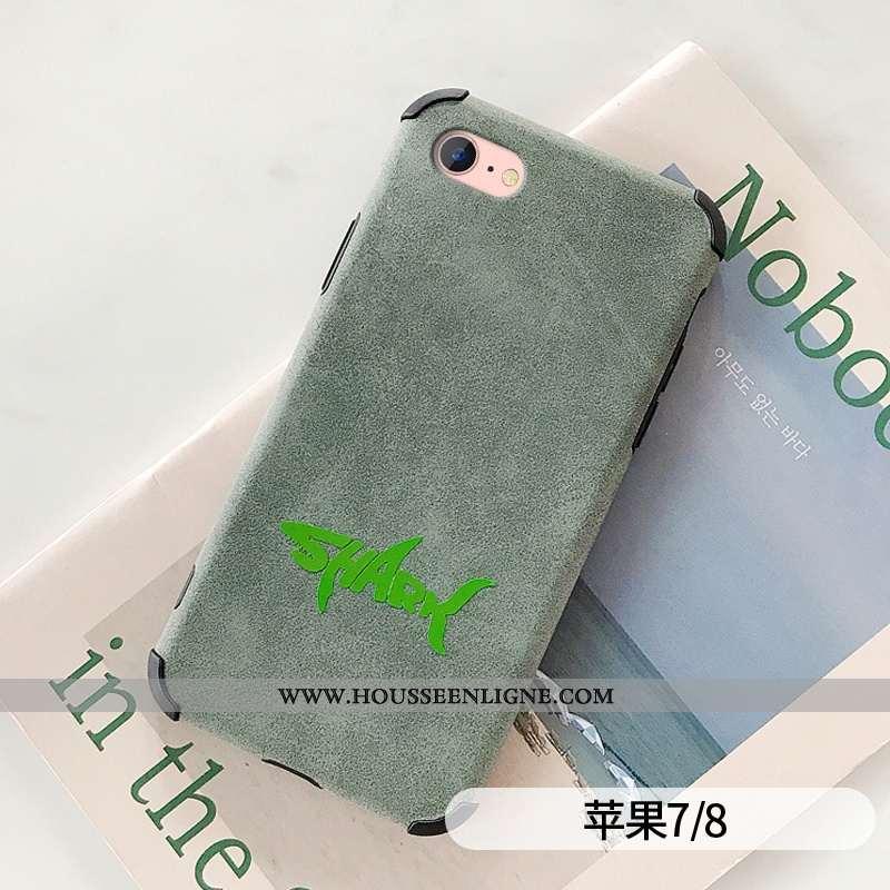 Étui iPhone 7 Cuir Fluide Doux Protection Amoureux Simple Téléphone Portable Verte