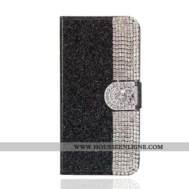 Étui iPhone 7 Cuir Papillon Rose Housse Téléphone Portable Noir