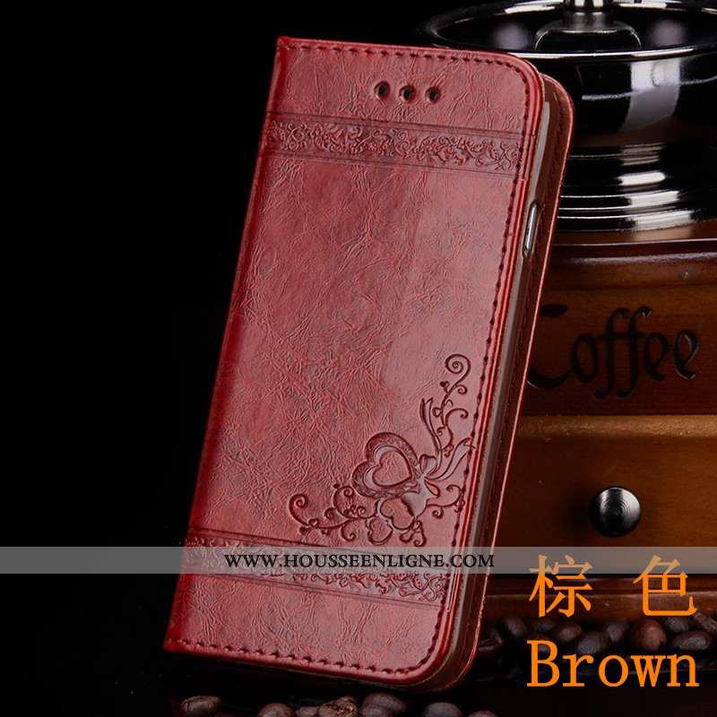 Étui iPhone 7 Cuir Protection Coque Portefeuille Housse Téléphone Portable Marron