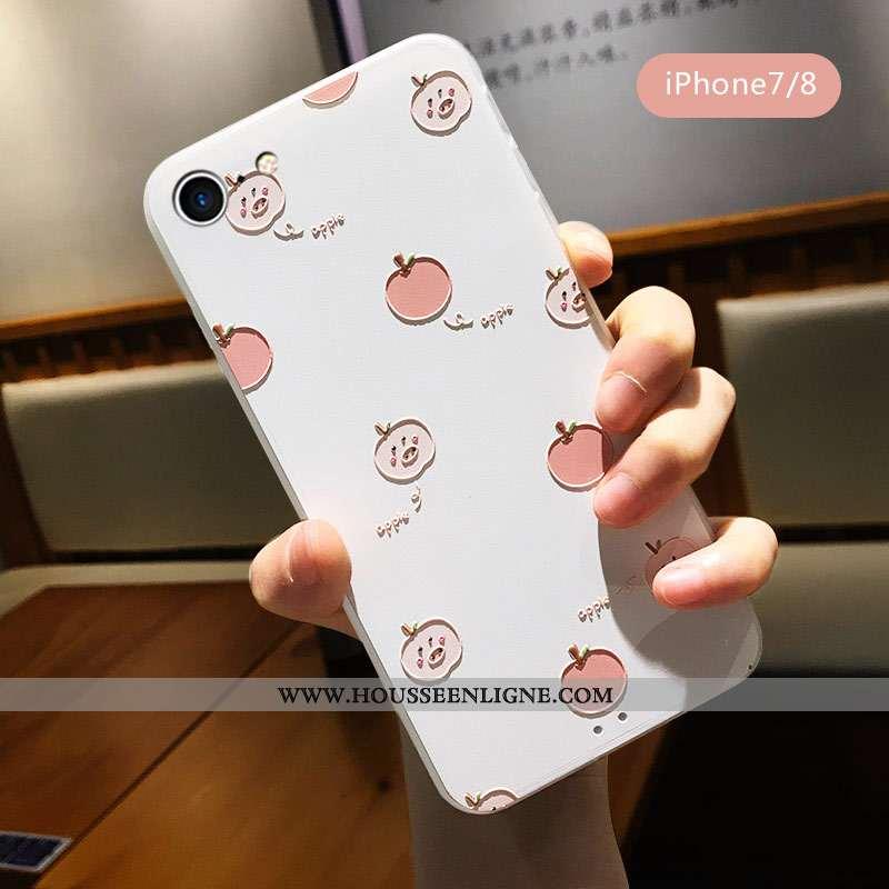 Étui iPhone 7 Délavé En Daim Personnalité Tout Compris Incassable Blanc Coque Petit Blanche