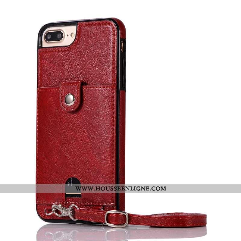 Étui iPhone 7 Plus Cuir Protection Pu Rouge Carte Ornements Suspendus