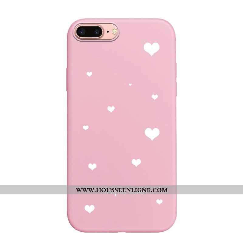 Étui iPhone 7 Plus Dessin Animé Fluide Doux Rose Coque Cœur Incassable