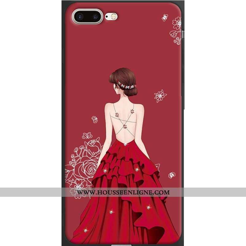 Étui iPhone 7 Plus Fluide Doux Protection Tendance Rouge Coque Téléphone Portable