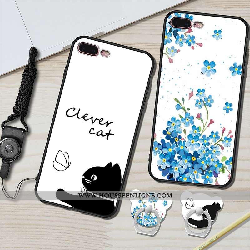 Étui iPhone 7 Plus Fluide Doux Silicone Blanc Ornements Suspendus Anneau Coque Téléphone Portable Bl