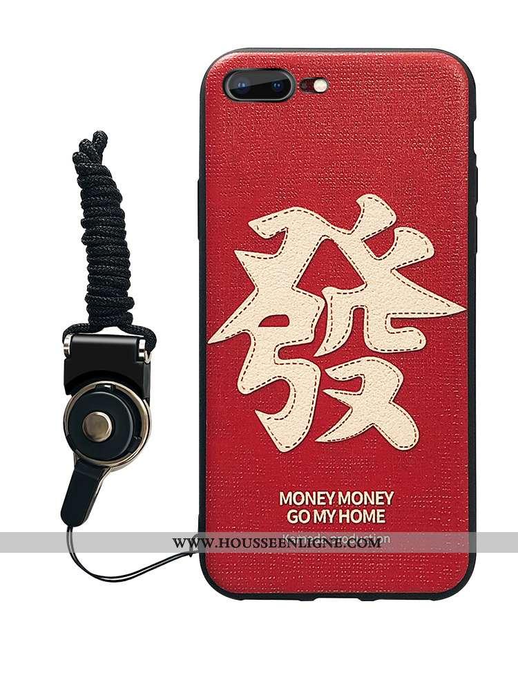 Étui iPhone 7 Plus Silicone Fluide Doux Pu Grand Simple Téléphone Portable Rouge