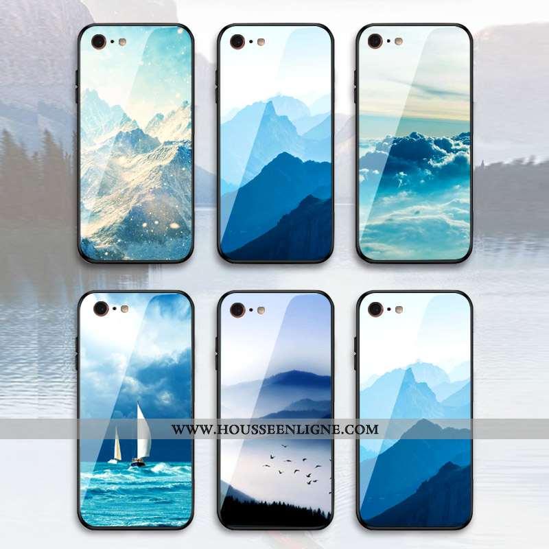 Étui iPhone 7 Plus Verre Personnalité Nouveau Style Chinois Tendance Téléphone Portable Bleu