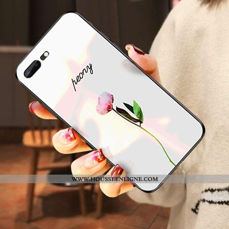 Étui iPhone 7 Plus Verre Tendance Nouveau Difficile Amoureux Pu Blanche