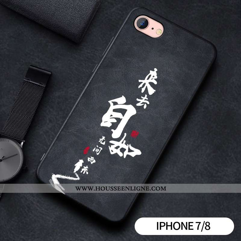 Étui iPhone 7 Silicone Protection Téléphone Portable Gaufrage Noir Coque
