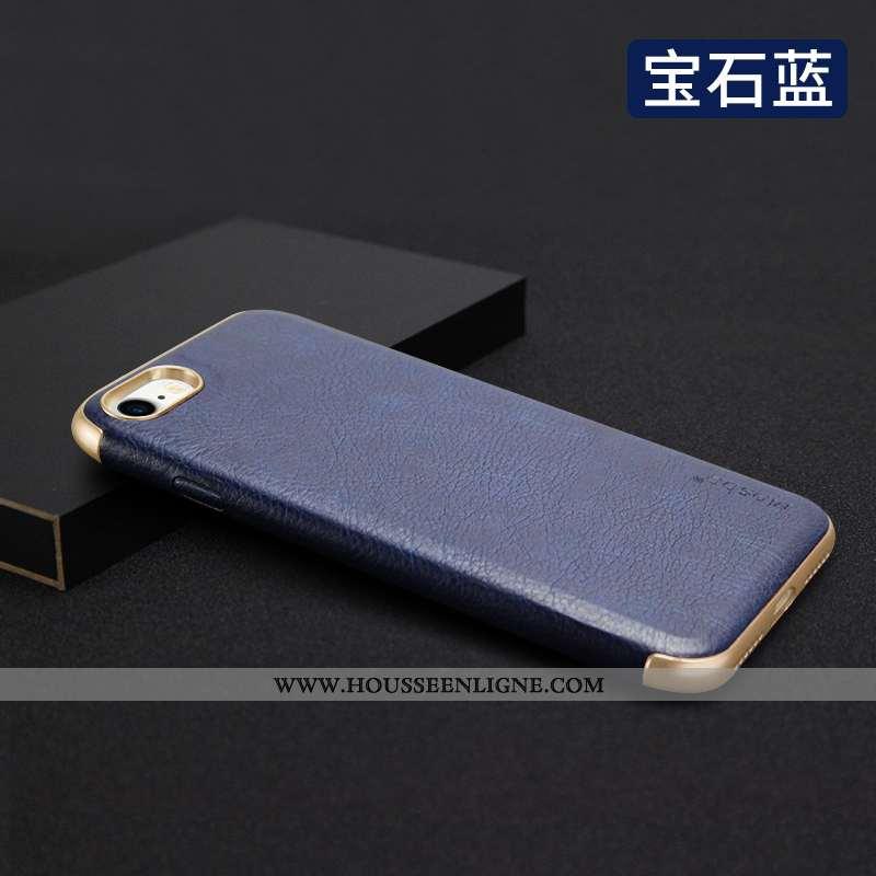 Étui iPhone 8 Fluide Doux Protection Business Incassable Bleu Marin Nouveau Tout Compris Bleu Foncé