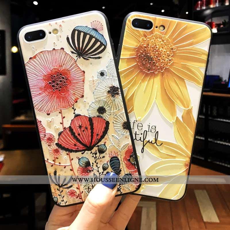 Étui iPhone 8 Plus Créatif Gaufrage Délavé En Daim Fluide Doux Coque Tout Compris Jaune