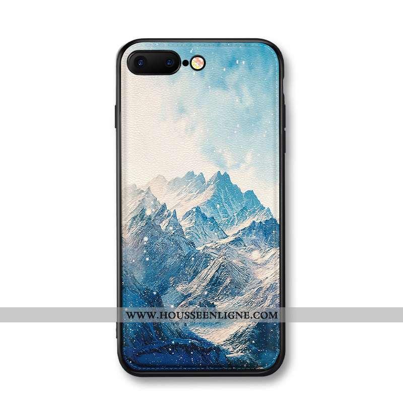 Étui iPhone 8 Plus Cuir Modèle Fleurie Incassable Téléphone Portable Protection Coque Bleu