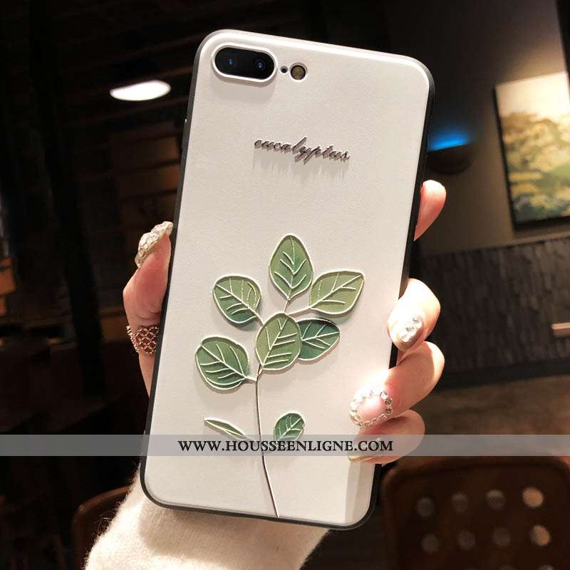 Étui iPhone 8 Plus Gaufrage Fluide Doux Protection Tout Compris Silicone Vert Art Verte