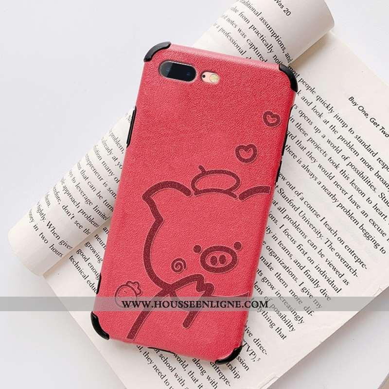 Étui iPhone 8 Plus Modèle Fleurie Fluide Doux Soie Mulberry Coque Téléphone Portable Cuir Net Rouge