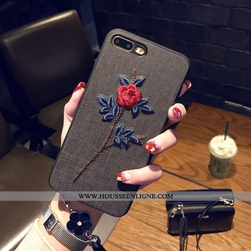 Étui iPhone 8 Plus Ornements Suspendus Personnalité Art Téléphone Portable Broderie Noir