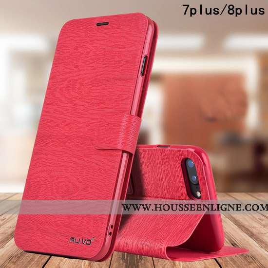 Étui iPhone 8 Plus Protection Cuir Silicone Business Pu Fluide Doux Téléphone Portable Rouge
