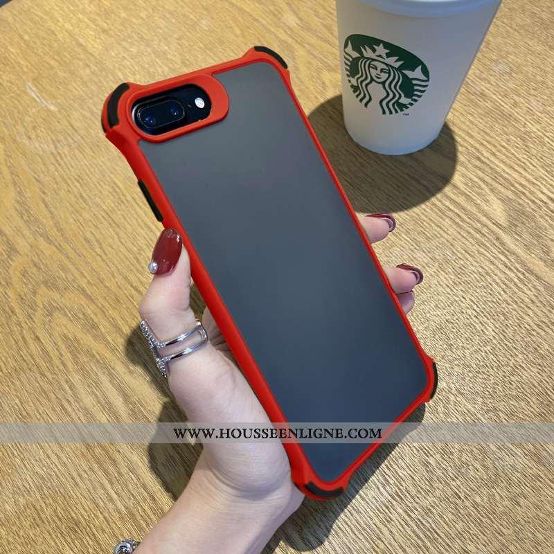 Étui iPhone 8 Plus Silicone Délavé En Daim Tout Compris Simple Incassable Coque Élégant Rouge