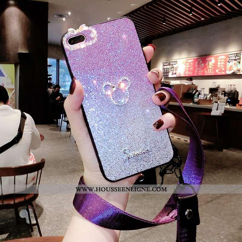 Étui iPhone 8 Plus Silicone Strass Clair Tendance Violet Fluide Doux Net Rouge