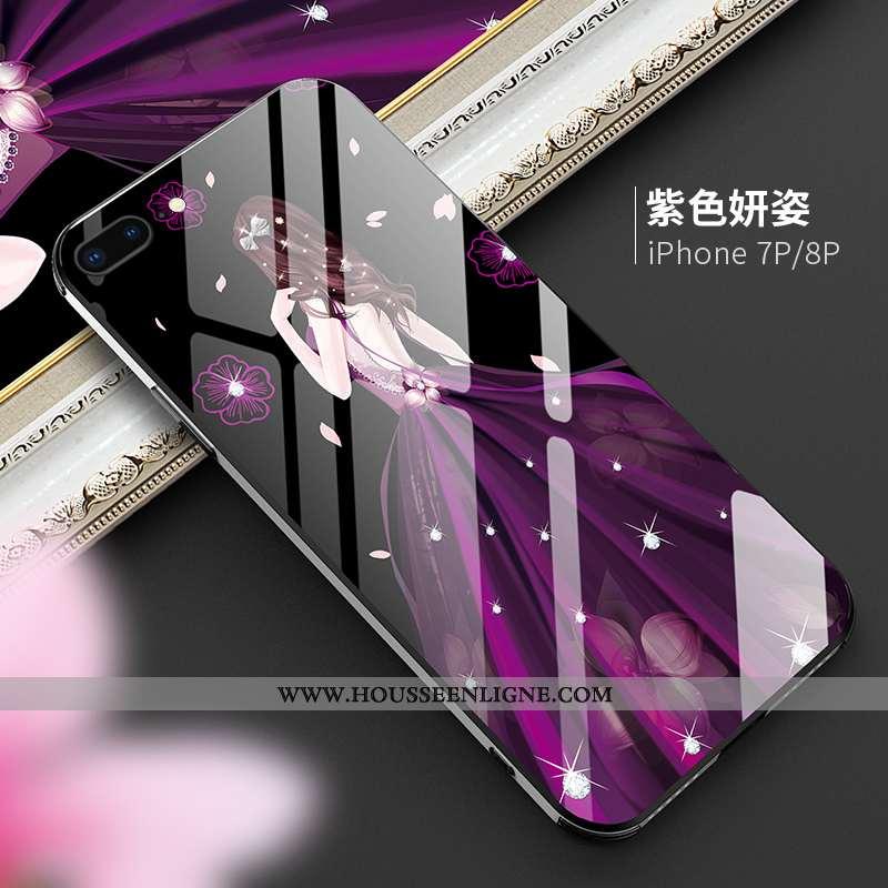 Étui iPhone 8 Plus Tendance Protection Téléphone Portable Net Rouge Violet Luxe