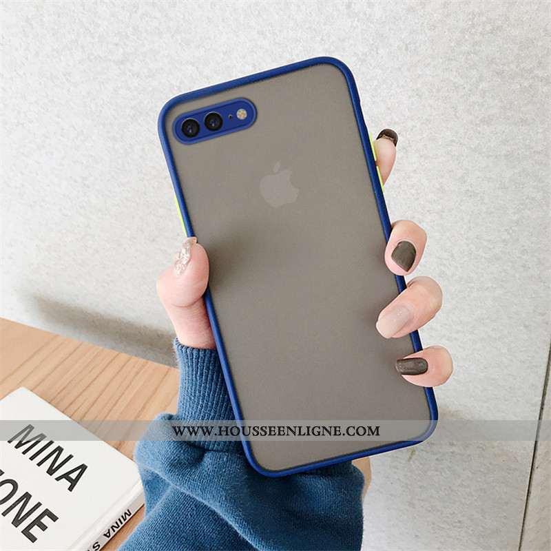 Étui iPhone 8 Plus Transparent Délavé En Daim Créatif Téléphone Portable Bleu Silicone Amoureux