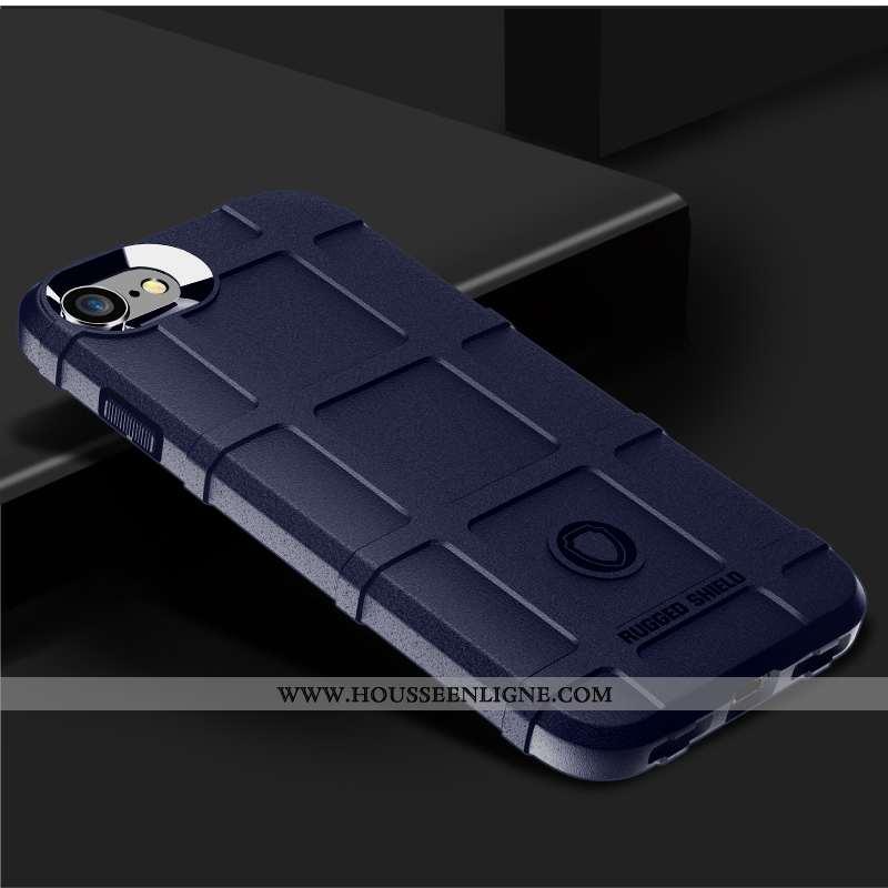 Étui iPhone 8 Protection Tendance Téléphone Portable Fluide Doux Épaissir Bleu Marin Bleu Foncé