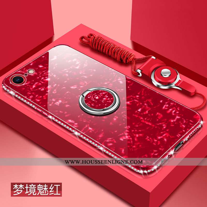 Étui iPhone 8 Verre Tendance Difficile Silicone Rouge Protection