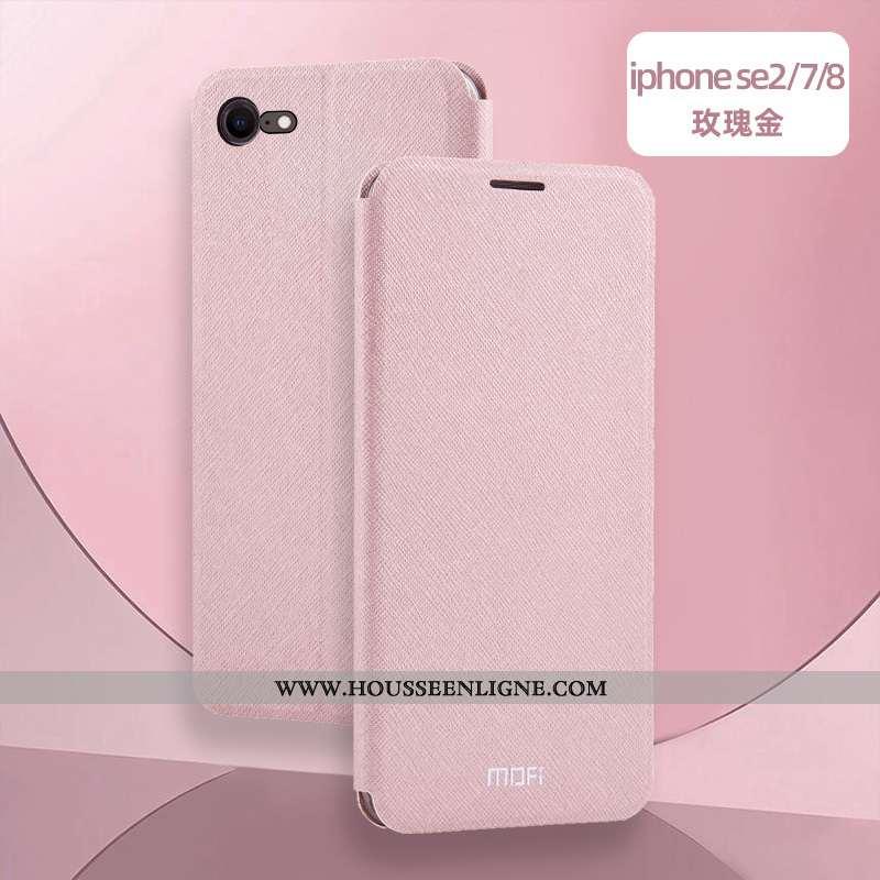 Étui iPhone Se (nouveau) Cuir Fluide Doux Protection Téléphone Portable Clamshell Incassable Silicon
