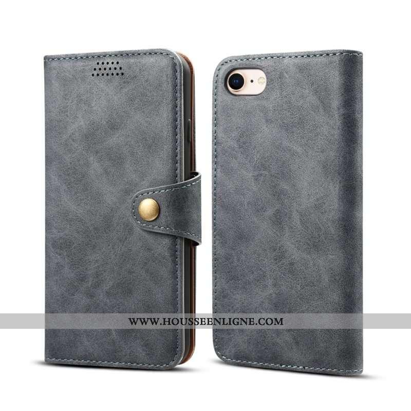 Étui iPhone Se (nouveau) Cuir Protection Coque Téléphone Portable Clamshell Gris Nouveau