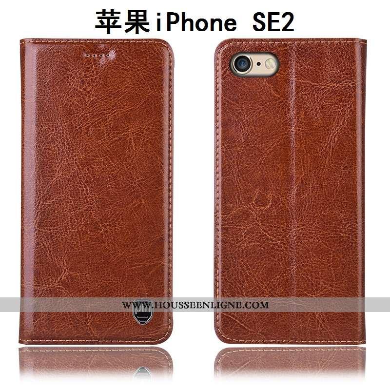 Étui iPhone Se (nouveau) Cuir Véritable Modèle Fleurie Incassable Tout Compris Téléphone Portable Ho