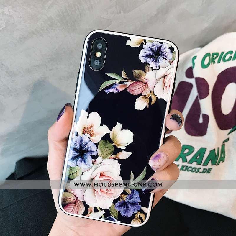 Étui iPhone X Élégant Silicone Téléphone Portable Miroir Style Chinois Fleurs Noir