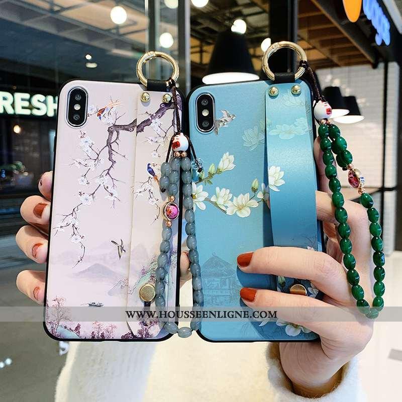 Étui iPhone X Créatif Silicone Téléphone Portable Tout Compris Vent Fleur Bleu