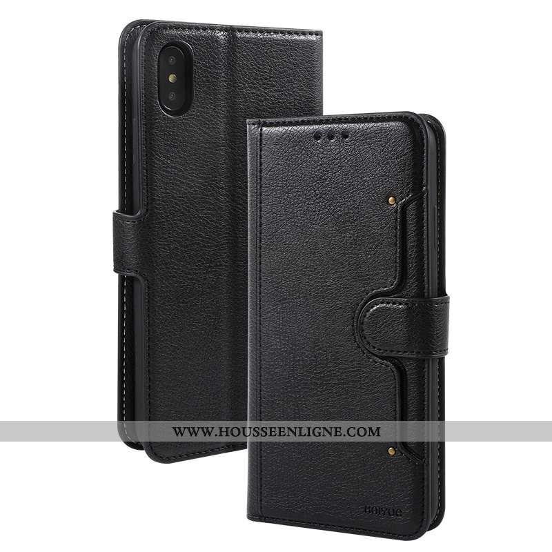Étui iPhone X Cuir Protection Qualité Incassable Carte Téléphone Portable Noir