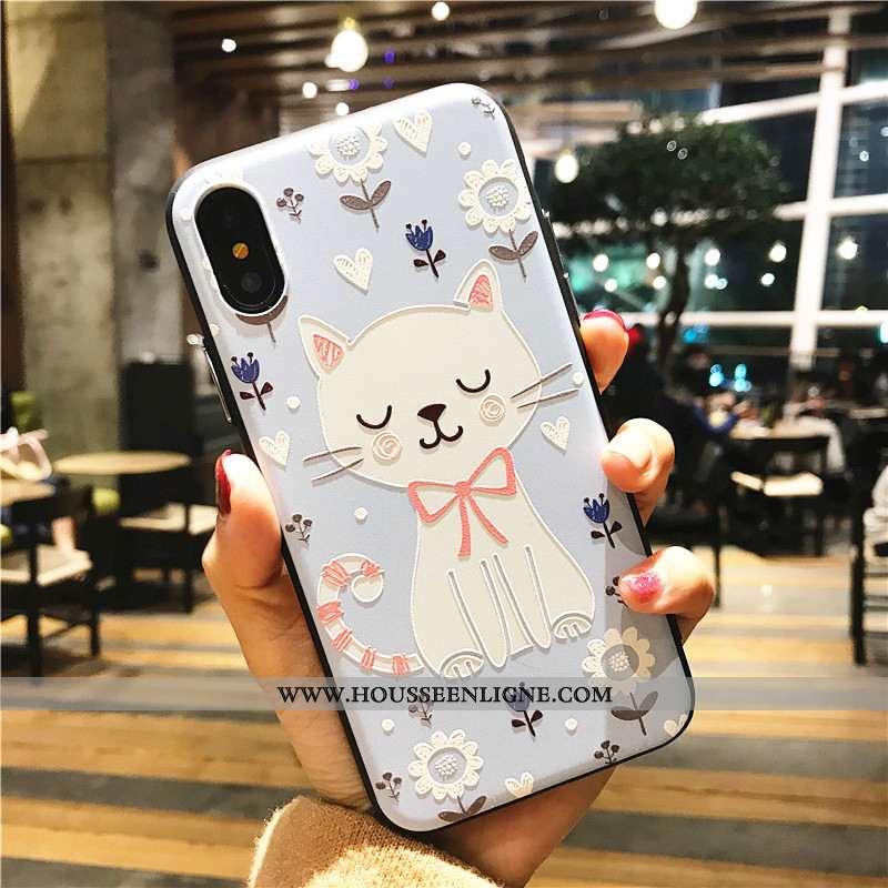 Étui iPhone X Dessin Animé Cou Suspendu Bleu Blanc Lion Cerf