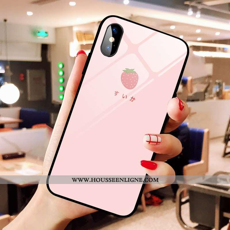 Étui iPhone X Dessin Animé Verre Frais Rose Chanceux Petit Coque