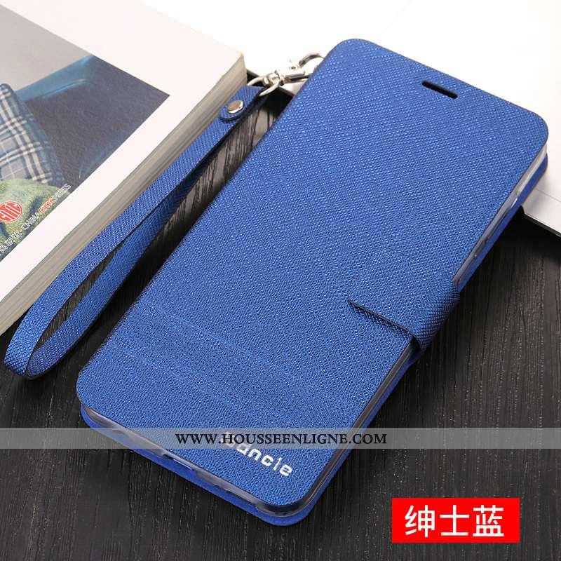 Étui iPhone X Fluide Doux Silicone Cuir Bleu Protection Incassable