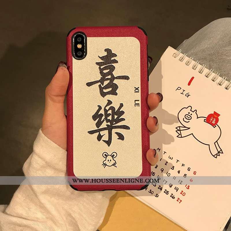 Étui iPhone X Fluide Doux Silicone Téléphone Portable Amoureux Coque Nouveau Style Chinois Rouge