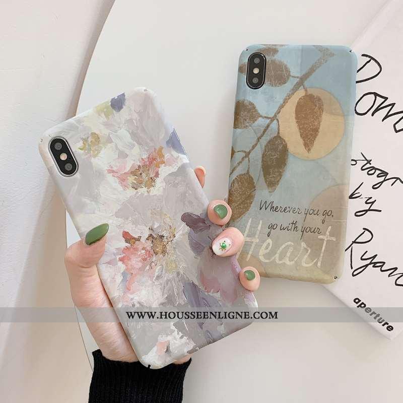 Étui iPhone X Personnalité Créatif Téléphone Portable Vent Peinture À L'huile Tendance Vintage Bleu