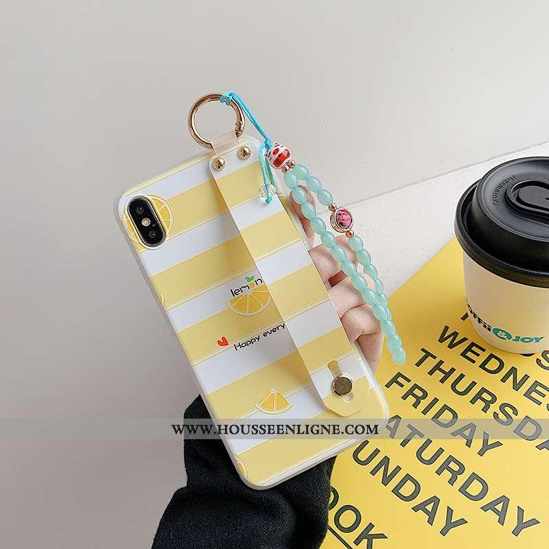 Étui iPhone X Protection Délavé En Daim Support Bracelet Jaune Téléphone Portable Bleu