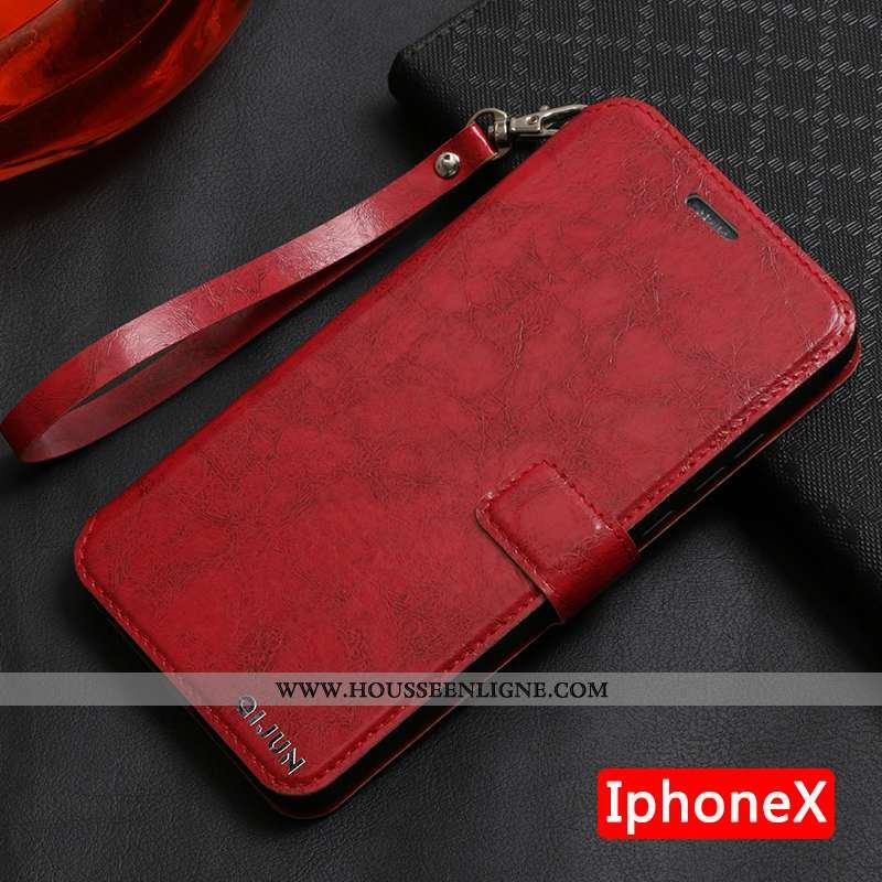 Étui iPhone X Silicone Protection Cuir Coque Téléphone Portable Tout Compris Rouge