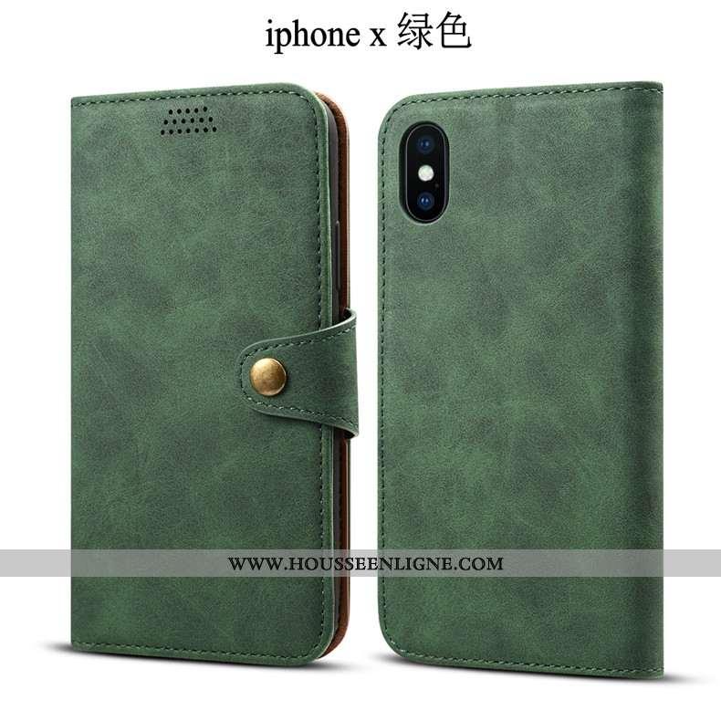 Étui iPhone X Tendance Cuir Housse Vert Fluide Doux Incassable Verte
