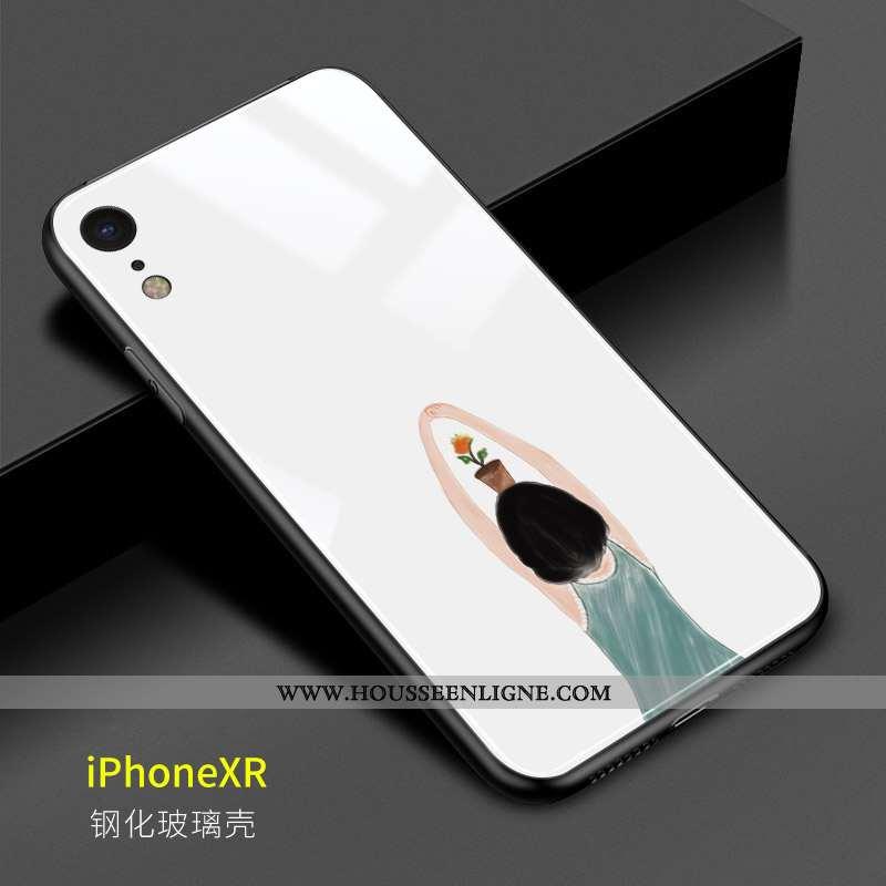 Étui iPhone Xr Charmant Verre Coque Art Créatif Blanc Tournesol Blanche