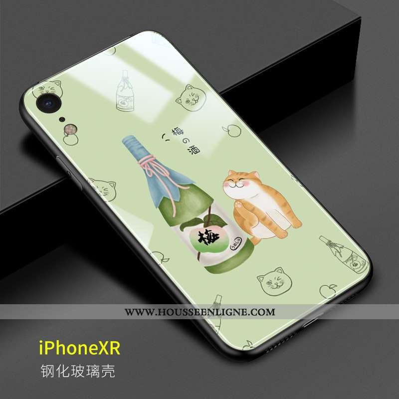 Étui iPhone Xr Charmant Verre Miroir Frais Téléphone Portable Difficile Vert Verte