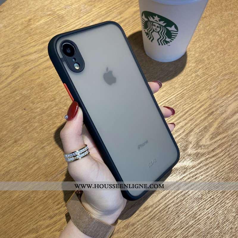 Étui iPhone Xr Délavé En Daim Tendance Luxe Incassable Téléphone Portable Noir Tout Compris