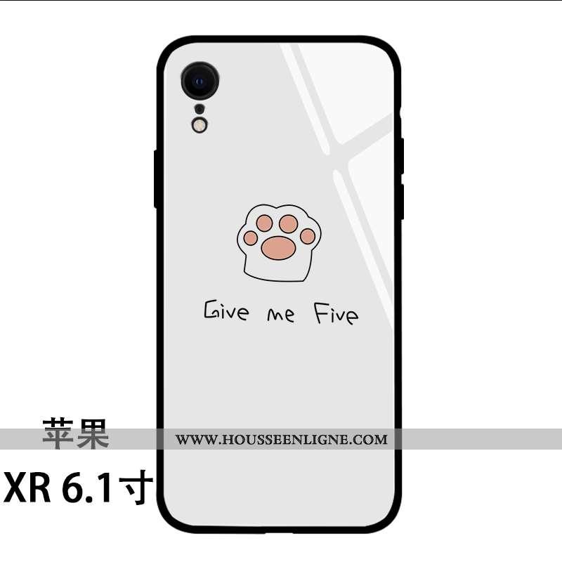 Étui iPhone Xr Dessin Animé Charmant Protection Chat Coque Téléphone Portable Blanche