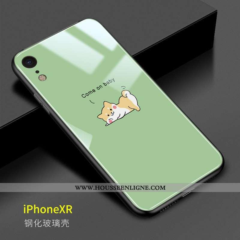 Étui iPhone Xr Fluide Doux Protection Téléphone Portable Charmant Chiens Coque Verte