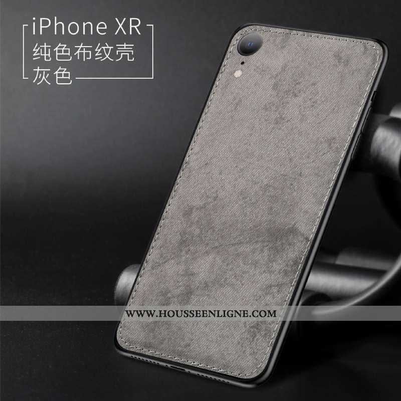 Étui iPhone Xr Modèle Fleurie Fluide Doux Nouveau Protection Ultra Tissu Gris