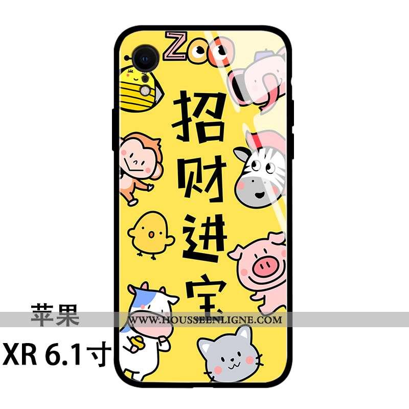 Étui iPhone Xr Protection Verre Jaune Coque Nouveau Personnalité Téléphone Portable
